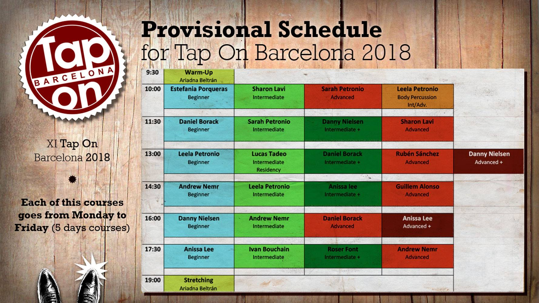 Tap On Barcelona 2018 Schedule